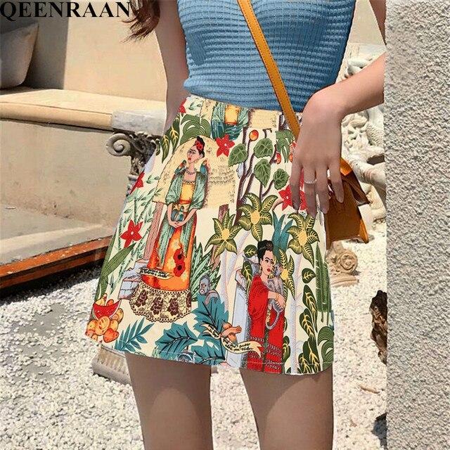 2019 Summer Women Skirt Fashion Bodycon Mini Skirt Female Character Print Skirts Faldas Mujer Jupe Femme Womens Clothing