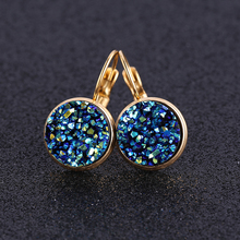 reidgaller 2019 fashion new lever back gold color stainless steel druzy earrings for women daily wear blue red green