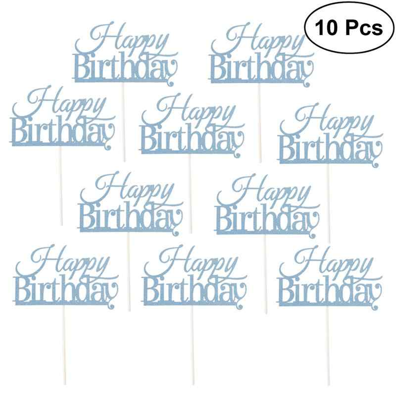 10 Pcs Happy Birthday Glitter Shimmery Cake Topper Cake Picks For Birthday Party Decorations Supplies