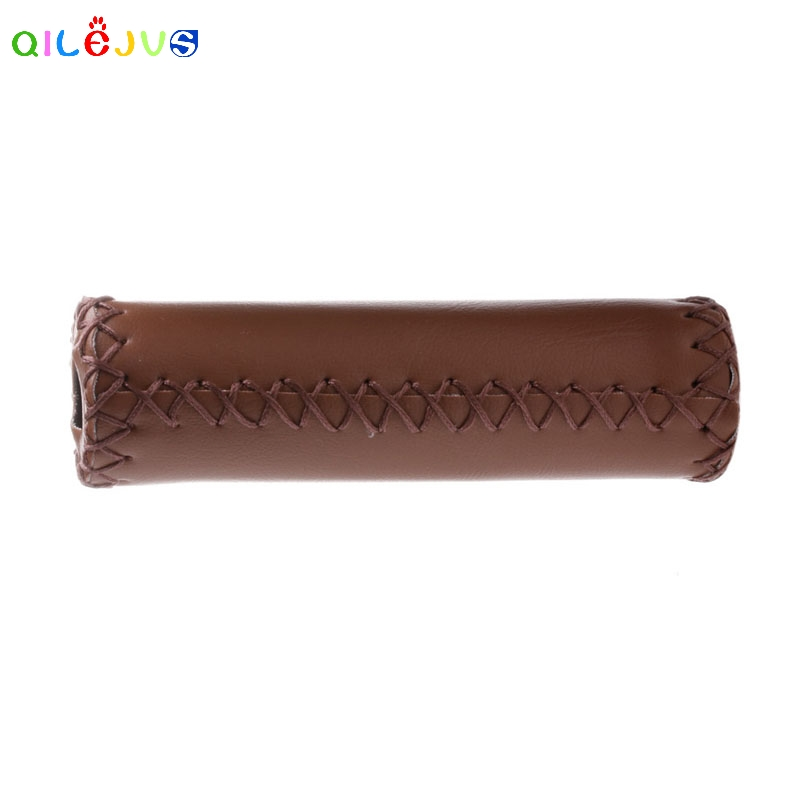 Stitched Leather BMX Road Mountain Bike Bicycle Cycling Handlebar End Grips