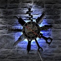 1 sztuka mechanik samochodowy warsztat warsztatowy płyta winylowa zegar ścienny Auto narzędzia do napraw podświetlenie LED naprawa sklep dekoracyjna lampa ścienna