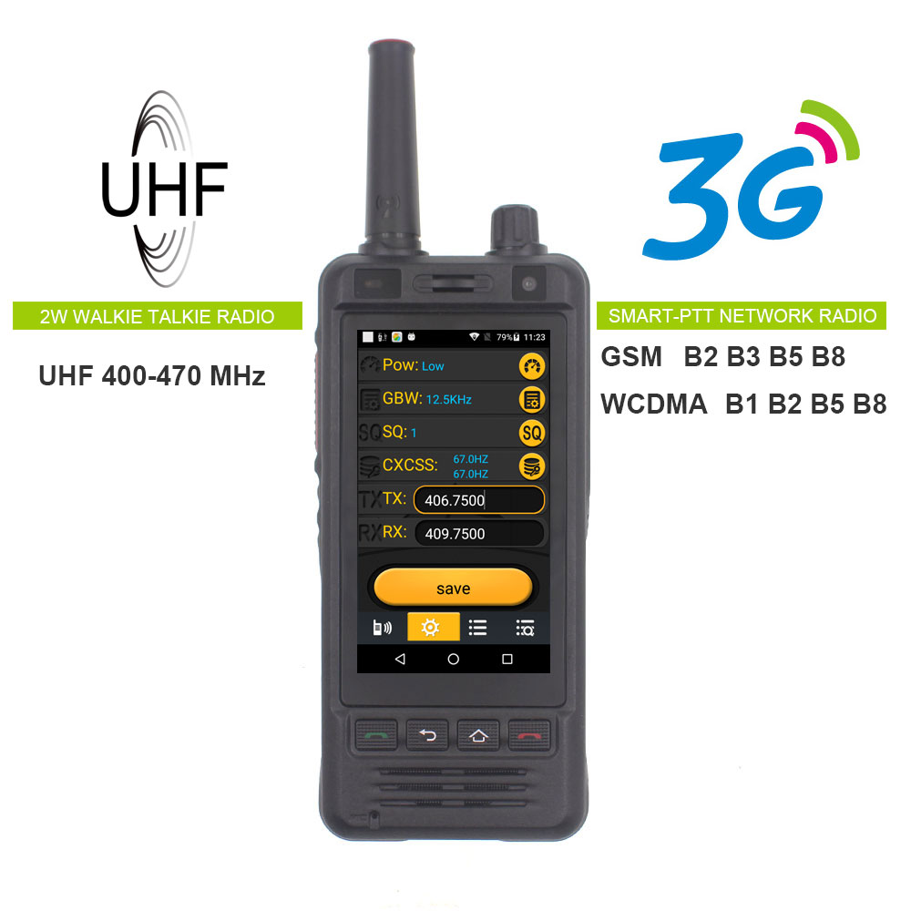 Anysecu W5 Network Radio 3G Android 6.0 Mobile Phone IP67 5000mAh PTT Radio UHF Walkie Talkie Bluetooth Wifi GPS REAL PTT ZELLO