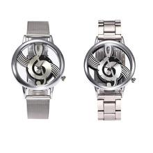 Роскошные ретро двусторонняя полые нот обозначения часы Для мужчин Для женщин сетки Часы Нержавеющаясталь кварцевые наручные Часы часы