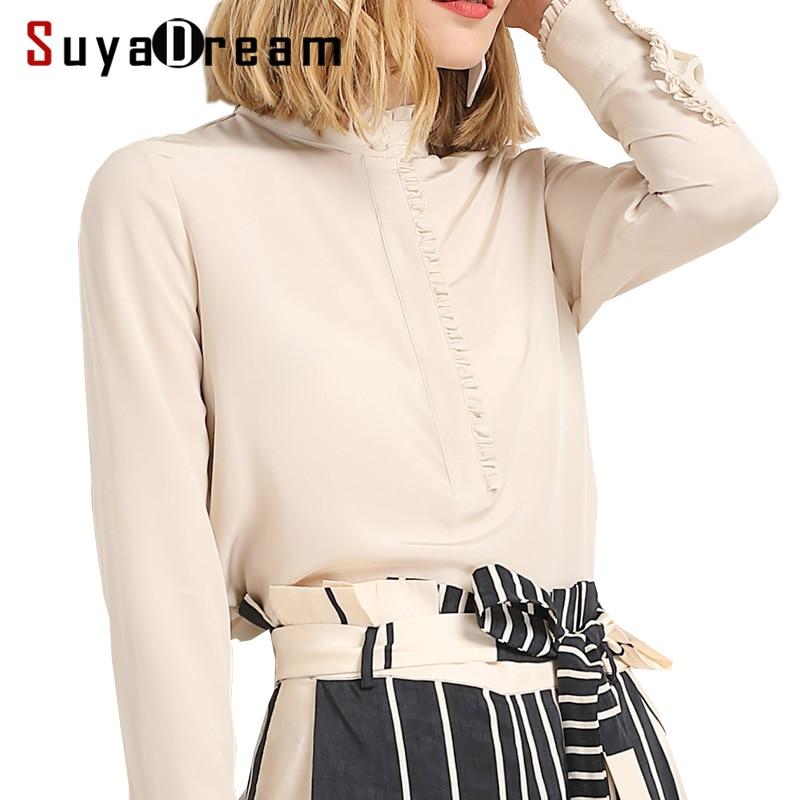 Women SILK SHIRT 23MM 100 Real silk Stand collar Long sleeved casual Top Blusas femininas 2019