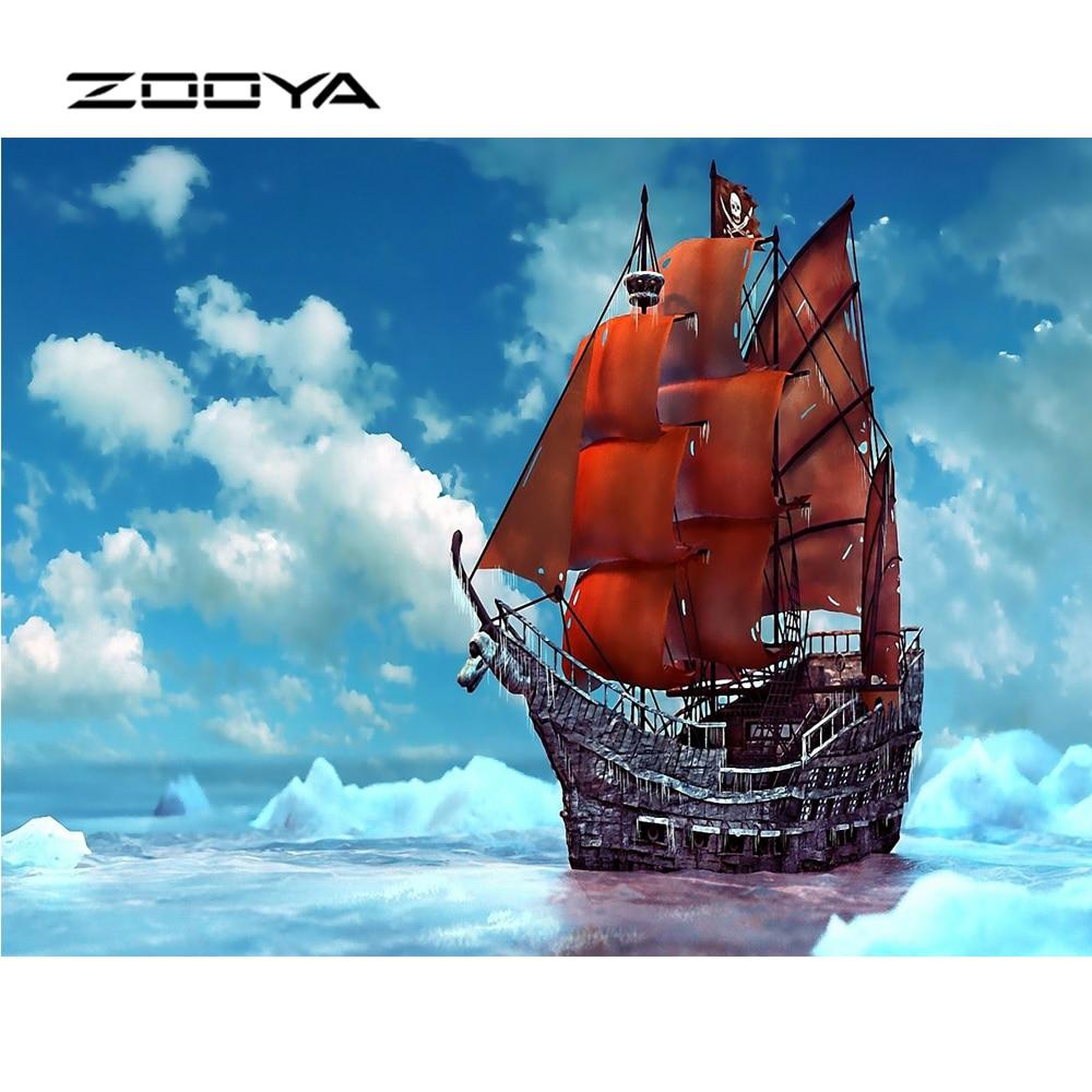 ZOOYA Алмаз кескіндеме Scenic Sky Желкенді - Өнер, қолөнер және тігін - фото 1