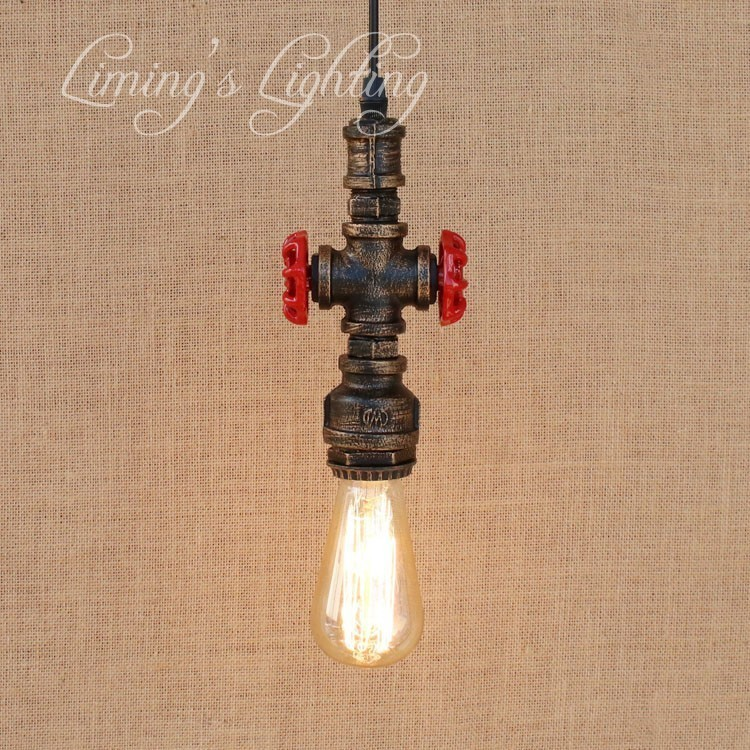 Loft Style Iron Water Pipe Lamp Retro Edison Pendant Light Fixtures RH Vintage Industrial Lighting For Dining Room Hanging Lamp american loft style water pipe lamp retro edison pendant light fixtures for dining room hanging vintage industrial lighting