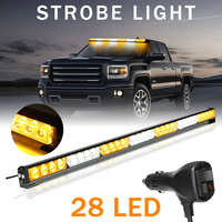 Autoleader Universal 12V 28LED Car Warning Light Bar Flash Strobe Lamp Amber&White Emergency Beacon Car Lights Signal Lamp