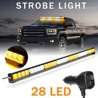 Autoleader Universal 12V 28LED Car Warning Light Bar Flash Strobe Lamp Amber&White Emergency Beacon Car Lights Signal Lamp