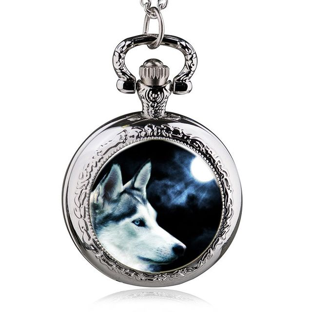 Fashion Design Wolf Pattern Quartz Pocket Watch Pendant Necklace Men Women Watch