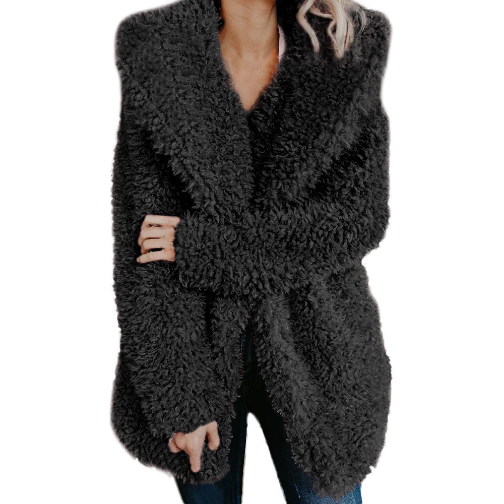 2019 New Womens Ladies Warm Artificial Wool Coat Lapel Winter Outerwear Womens Fashion Luxury Winter Coats casaco feminino SA60