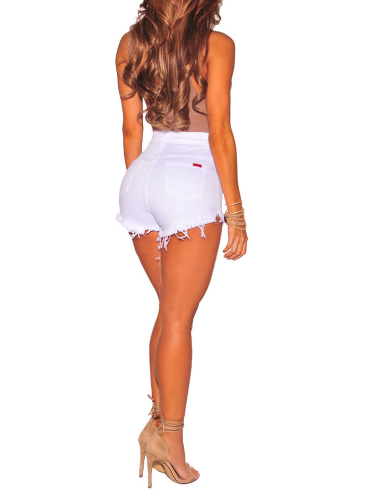 Hot Summer Women Casual High Waisted Short Mini Button Short Pants Black White Sexy Shorts 14