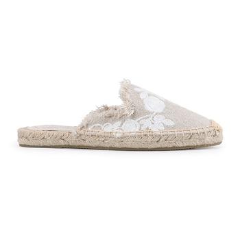 Pantufa Women Shoes Tienda Soludos Slippers Cotton Fabric Sale Promotion Hemp Rubber Summer Slides Zapatos De Mujer Floral 4