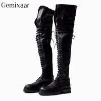 Мотоциклетные сапоги выше колена с перекрестной шнуровкой; круглый носок; Низкий квадратный каблук; Botines Mujer; роскошная черная бычья кожа; Же