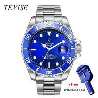 Relojo masculino tevise relógio de quartzo men calendário luxo à prova dwaterproof água relógios homem relógio de negócios de pulso de aço inoxidável|Relógios de quartzo| |  -