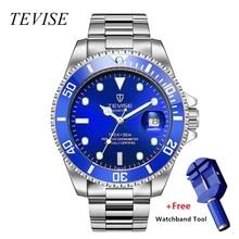 купить relojo mascuino TEVISE Quartz Men Watch Calendar Luxury Waterproof Watches Man Business Watch Wrist Stainless Steel Mens Watches дешево