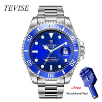 relojo mascuino TEVISE Quartz Men Watch Calendar Luxury Waterproof Watches Man Business Watch Wrist Stainless Steel Mens Watches