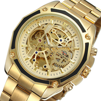 FORSINING Business Men Automatic Mechanical Watch Gold Solid Strap Bezel Skeleton Dial 3D Design Fashion Wrist Watches Gift