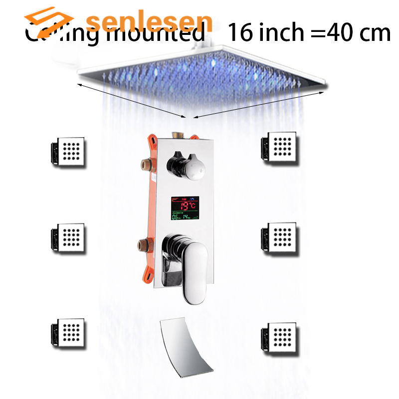 Digital Mixer Tap Bathroom Shower 3 Function Digital Shower Faucets Set LED Rainfall Shower Head Waterfall Spout 3 way
