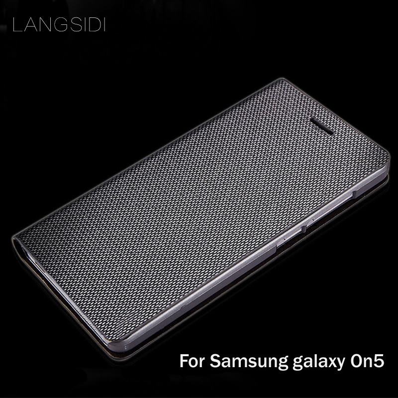 LANGSIDI brand genuine leather phone case diamond Pattern clamshell handphone shell For Samsung galaxy On5 All- handmade