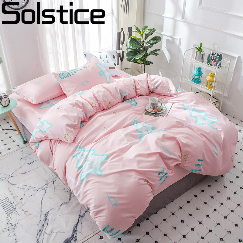 Solstice Home Textile Christmas Tree Pink Duvet Cover Pillowcase Bed Sheet Girl Kid Teen Bedding Set Queen Twin 3-4Pcs Bedlinens