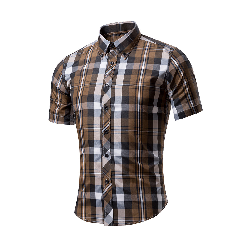 New Summer Style Men Short Sleeve Shirts Plaid Fashion Turn-down Collar Slim Fit Breathable Men Casual Shirt 10 Color  Рубашка