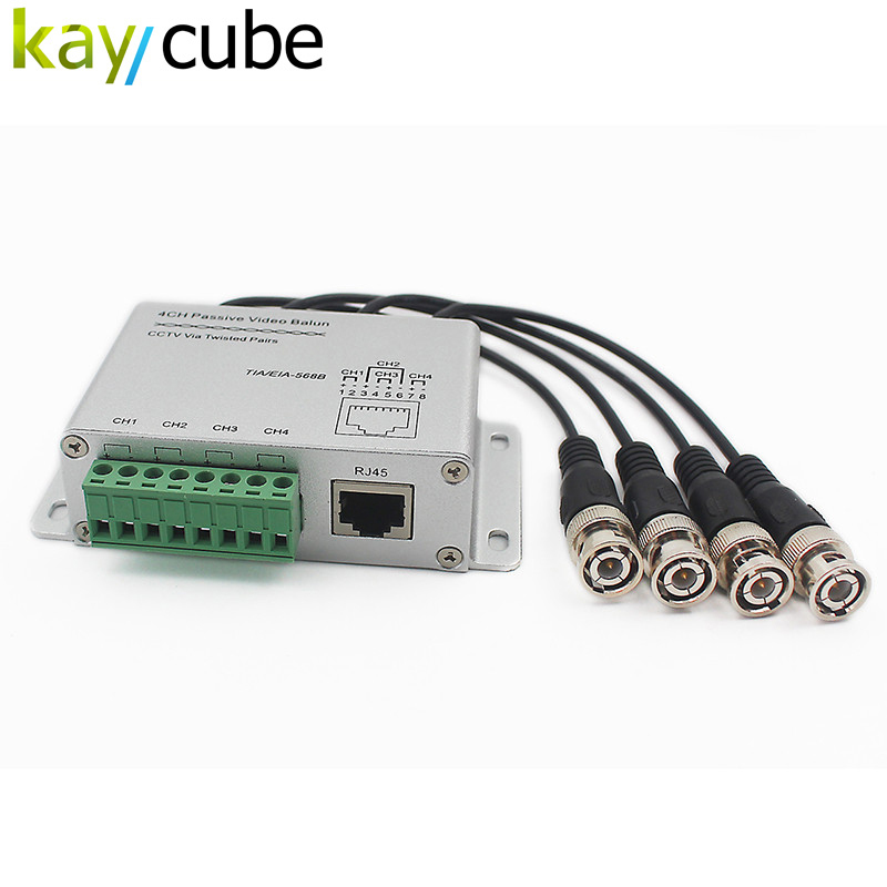 CCTV 4 Channel Passive Transmitter Video Balun BNC Male to UTP Rj45 Cat5 4 CH UTP Video Balun Transmission for CCTV System single channel passive video balun grey silver 2 pcs