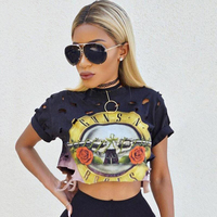Sexy Hole Crop Top 2016 Print GUNS N ROSES T Shirt Women Top Tees Shirt Femme