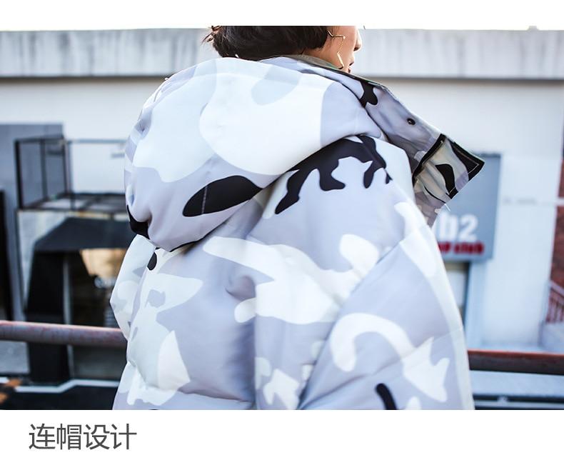 Manches Longues Blanc Deux Côtés Femme Chaud Capuche Impression Fi282 Manteau Lâche Vestes Hiver Coréenne Porter Sur Camouflage 2018 À Garder Les Au wFZvnx1zq