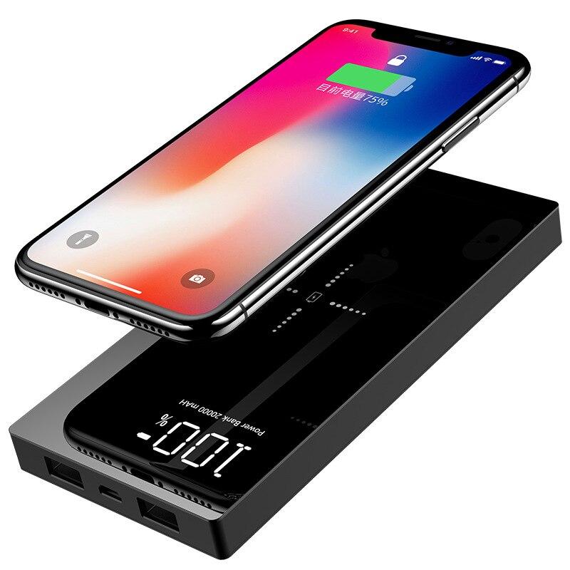 QI Sans Fil Chargeur batterie externe 20000 mAh Pour Xiao mi mi 2 charge rapide 2A PowerBank sans fil chargeur pour iphone batterie externe