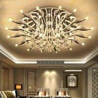 LED 30W Swan 16 Light Ceiling Light Modern Contemporary Crystal LED Chrome Metal Flush Mount 110