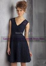 2017 new arrival cheap elegant short lace bridesmaid dress dark blue sexy party gown plus size vestido de festa de casamento