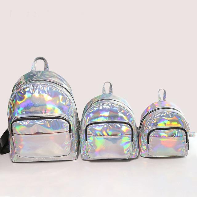 De holograma mochilas para adolescentes chicas laser color plata ...
