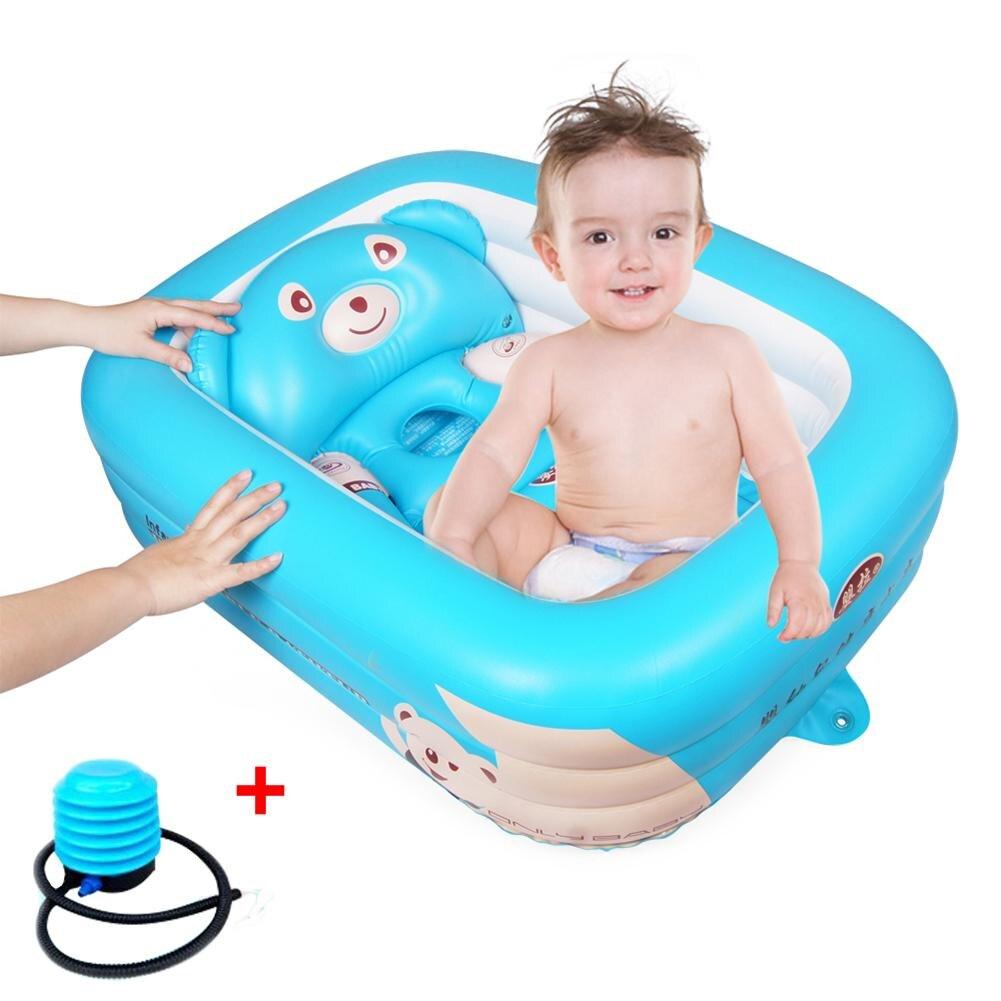 Cartoon Baby Bathtub Newborn Baby Foldable Inflatable Bathtub Large Thickened Bathing Pool Paddling Pool for Sitting and Lying