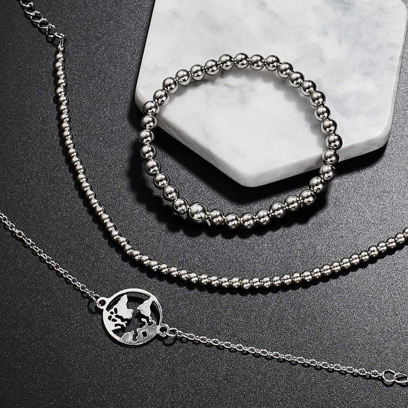 H: HYDE 4 unids/set Bohemia pulsera amuleto de cuentas borla mujeres brazaletes dorados corazón pulseras conjuntos de joyería de regalo