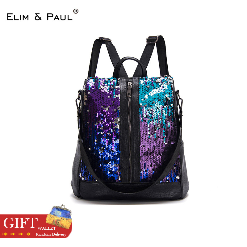 Fashion Sequins Women Backpack Bag Casual Travel Purse Laptop Backpack Bookbags Backpacks For Teenage Girls Luxury mochila mujer все цены