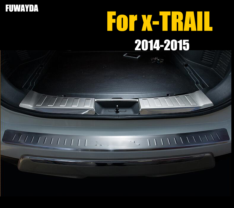 For Nissan X-XTRAIL 2014-2015 Car Rearguards Stainless Steel Rear Bumper Trunk Fender Sill Plate Protector Guard Covers trim stainless steel rear outer bumper protector guard plate for jeep grand cherokee 2014