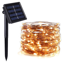 LED Solar Powered  Copper Wire Fairy String lamp Outdoor waterproof Christmas lights Wedding holiday decoration