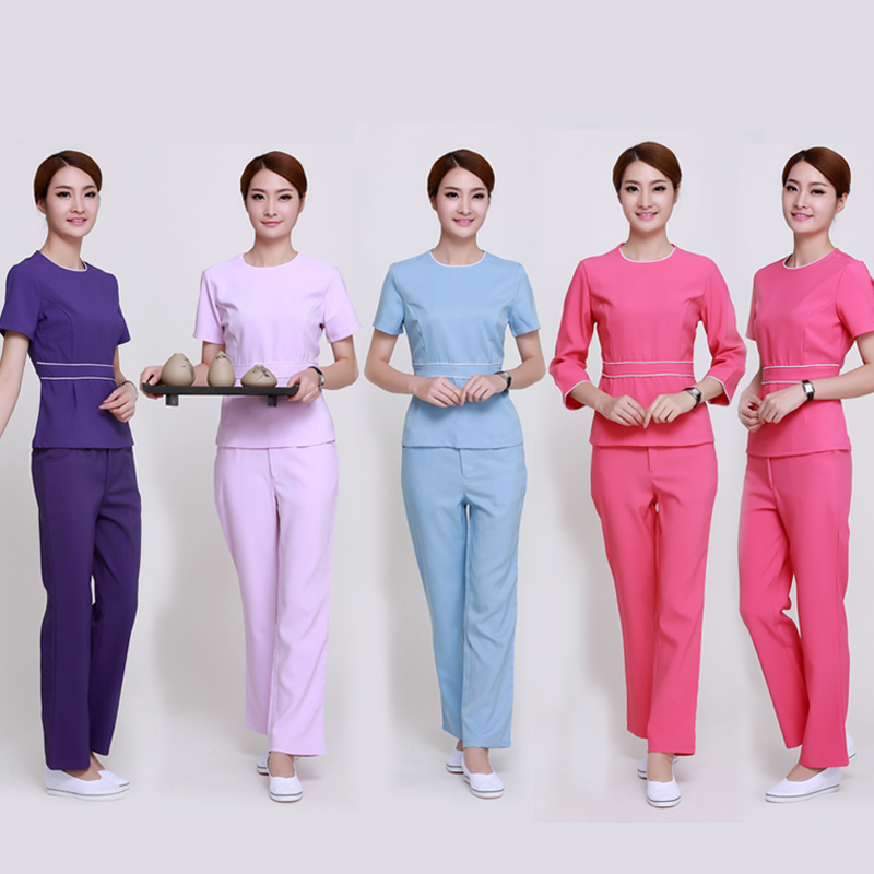 (10 Set/lot)Beauty Salon Beautician Overalls High Elastic Cultivate One's Morality Work Clothes Dress Suit Pants Skirt Outfit