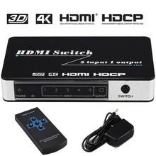 HDMI Switch 5×1 4Kx2K @ 30 hz 5 Port Switcher Splitter Box Suporte Ultra HD 3D IR Sem Fio adaptador de Energia De Controle remoto Full HD 108