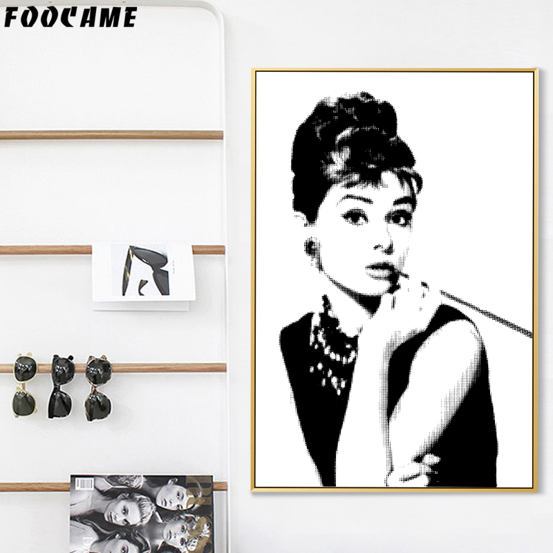 Audrey Hepburn Riding Bike Retro Decorative Art Canvas Print Modern Wall Décor