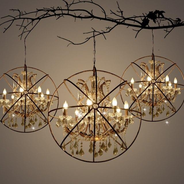 Vintage Pendant Lights Living Room Kitchen Industrial Loft Hanging Lamp Crystal Bar Cafe Bedroom Lighting Fitures DIA43/55 cm