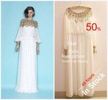 Heißer Verkauf 2016 Scoop Ausschnitt Regelmäßige Langen Ärmeln Chiffon Kristall Bodenlangen Formale Abendkleid Kleider Festzug-kleid F & M1257