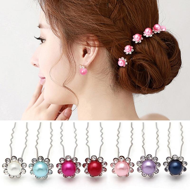 Bridal Multicolor Pearl Flower Hair Accessories Crystal Rhinestone Diamante Hair Clips Jewelry Wedding Hairpins SP0420