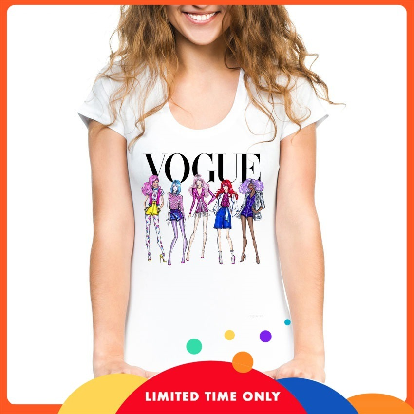 Vogue Character Printed Tshirt Female Gothic Tops Summer White Modal Knitted Hipster Graphic Tees Sexy Goddess Korean Streetwear