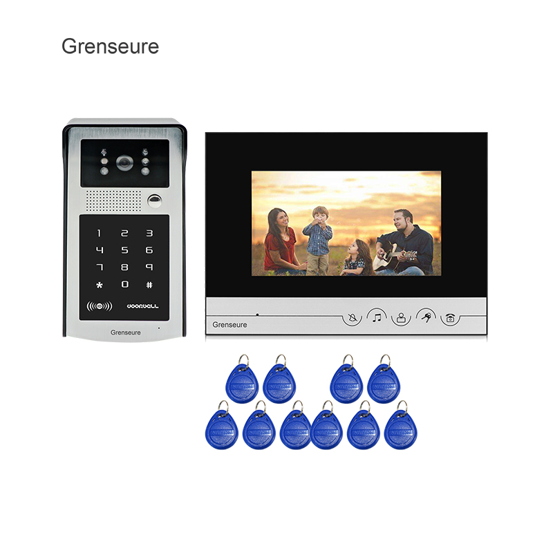 Grenseure 7 inch LCD Monitor Screen Video Intercom Door Phone System + Metal Waterproof RFID Code Keypad Doorbell Camera grenseure free shipping 9 lcd monitor video intercom door phone system rfid code keypad outdoor camera electromagnetic lock