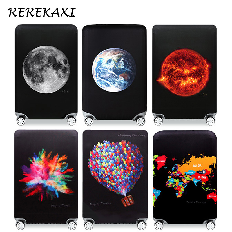 REREKAXI Planet Suitcase Luggage Cover 18-32Inch Trolley Elastic Protective Covers Dustproof Trunk Case Cover Travel Accessories