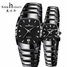 В курсе любителей моды Пара часы Водонепроницаемый Роскошные Для мужчин Для женщин часы Нержавеющаясталь платье свадебный подарок наручные часы