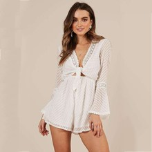 Fashion 2019 New Sexy Deep V Neck Short Overalls Summer Women Polka Dot Lace Up Playsuit Lantern Sleeve Loose Jumpsuit