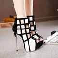 Senhoras livres do Transporte Sapatos de Salto Alto Mais Alto 16 cm Moda Peep Toe Bombas Sexy Boate Botas Feitiço Preto Branco cor