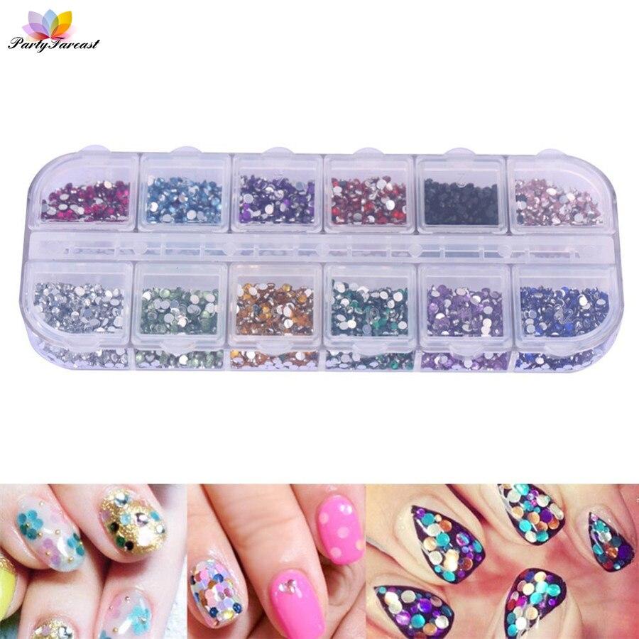 PF 2mm/1,5mm Nail art Farbe Diamant Aufkleber für Nägel Pailletten ...